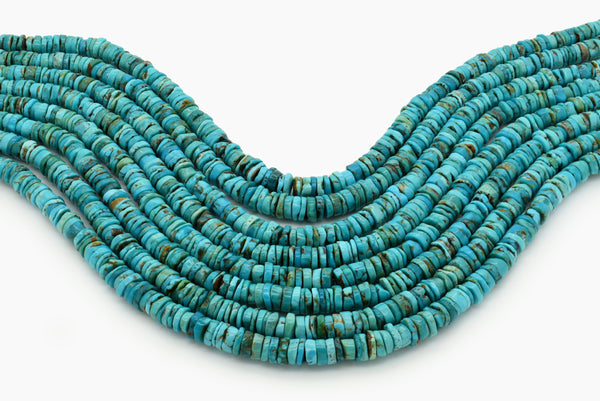 7mm Turquoise Round-Flat Bead, 16'' Strand, A201RB1040