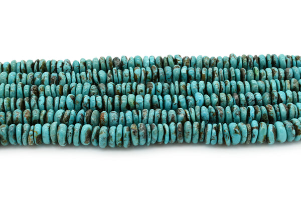 9mm Turquoise Round-Flat Bead, 16'' Strand, A201RB1044