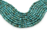 8mm Turquoise Round-Flat Bead, 16'' Strand, A201RB1048