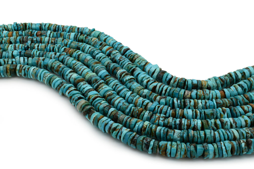 7mm Turquoise Round-Flat Bead, 16'' Strand, A201RB1054
