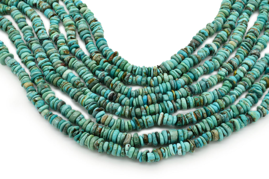 7mm Turquoise Round-Flat Bead, 16'' Strand, A201RB1060