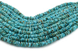 6mm Turquoise Round-Flat Bead, 16'' Strand, A201RB1063