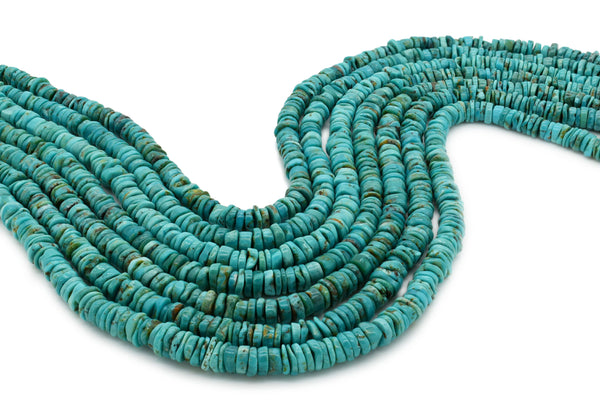 6mm Turquoise Round-Flat Bead, 16'' Strand, A201RB1064