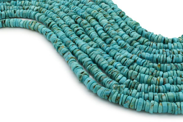 6mm Turquoise Round-Flat Bead, 16'' Strand, A201RB1071