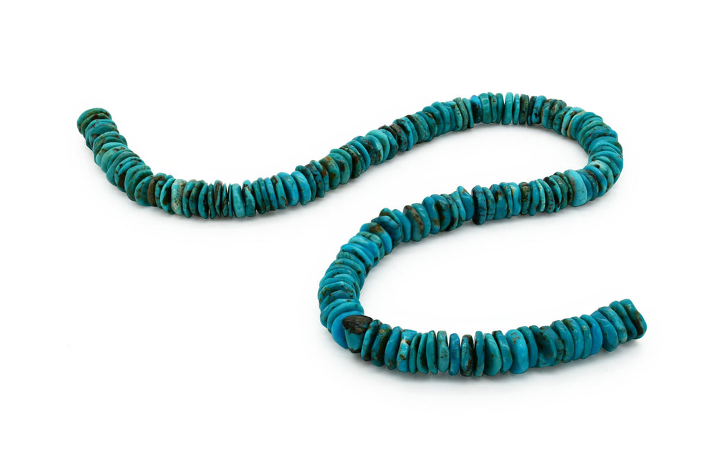 10mm Turquoise Round-Flat Bead, 16'' Strand, A201RB1080