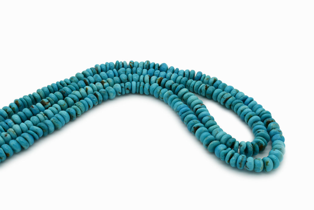 6mm Turquoise Round-Flat Bead, 16'' Strand, A201RB1082