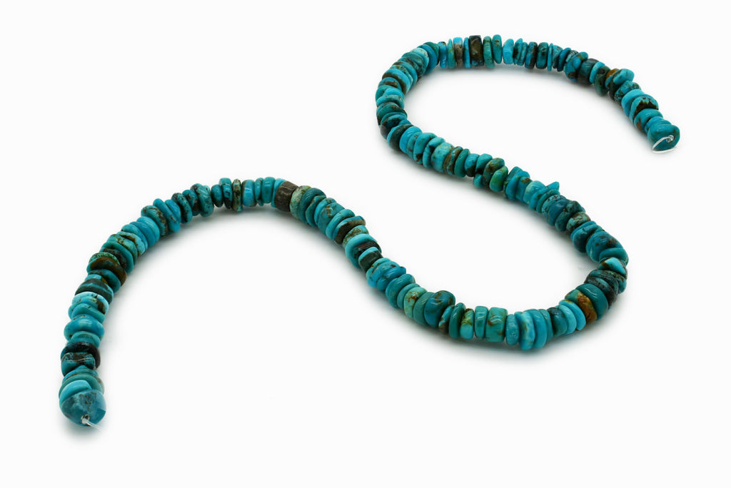 8mm Turquoise Round-Flat Bead, 16'' Strand, A201RB1085