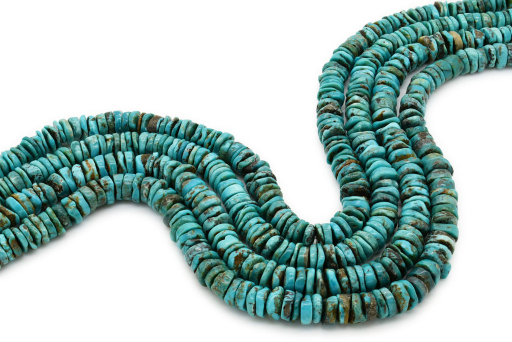 8mm Turquoise Round-Flat Bead, 16'' Strand, A201RB1096