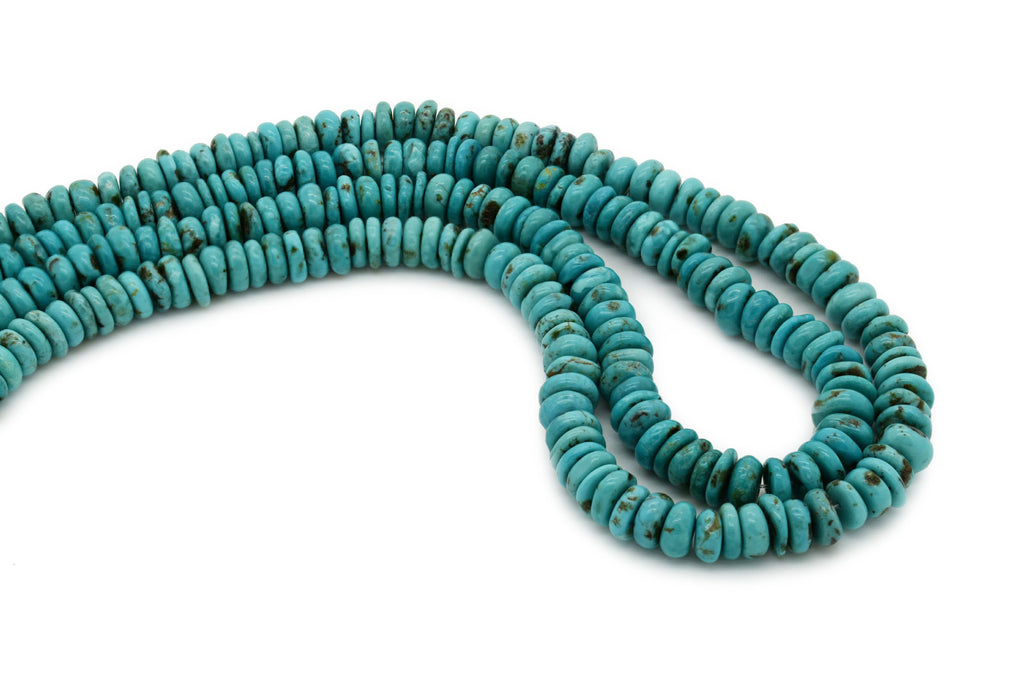 8mm Turquoise Round-Flat Bead, 16'' Strand, A201RB1106