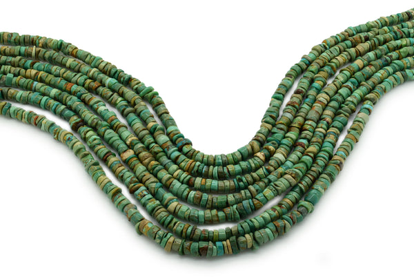 5mm Turquoise Round-Flat Bead, 16'' Strand, A201RB1113