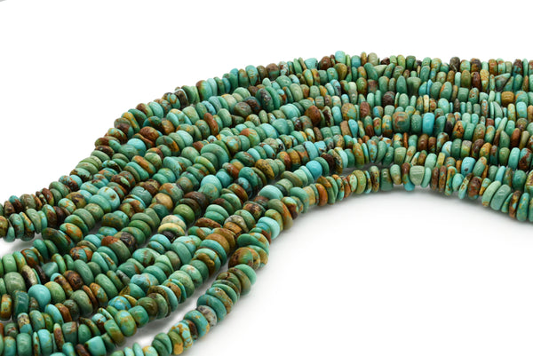 6mm Turquoise Round-Flat Bead, 16'' Strand, A201RB1114