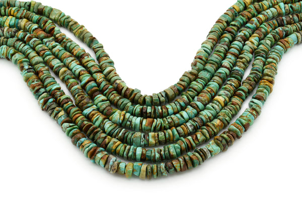 7mm Turquoise Round-Flat Bead, 16'' Strand, A201RB1119