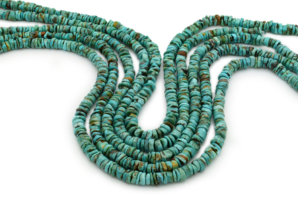 6mm Turquoise Round-Flat Bead, 16'' Strand, A201RB1124