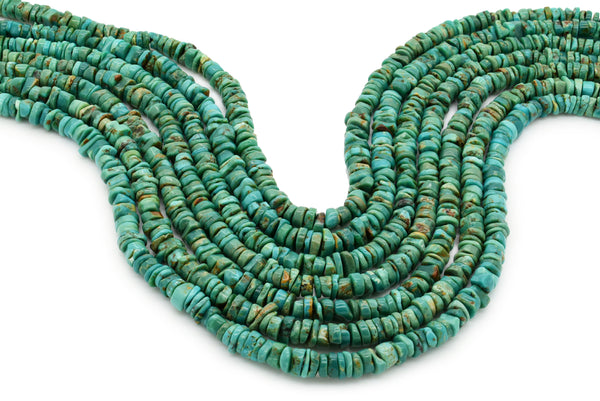 6mm Turquoise Round-Flat Bead, 16'' Strand, A201RB1129