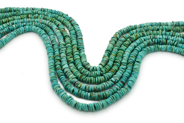 6.5mm Turquoise Round-Flat Bead, 16'' Strand, A201RB1132