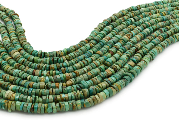 6mm Turquoise Round-Flat Bead, 16'' Strand, A201RB1137