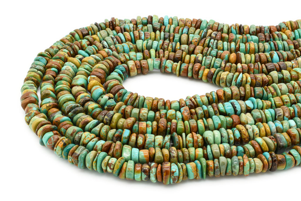 7.5mm Turquoise Round-Flat Bead, 16'' Strand, A201RB1142