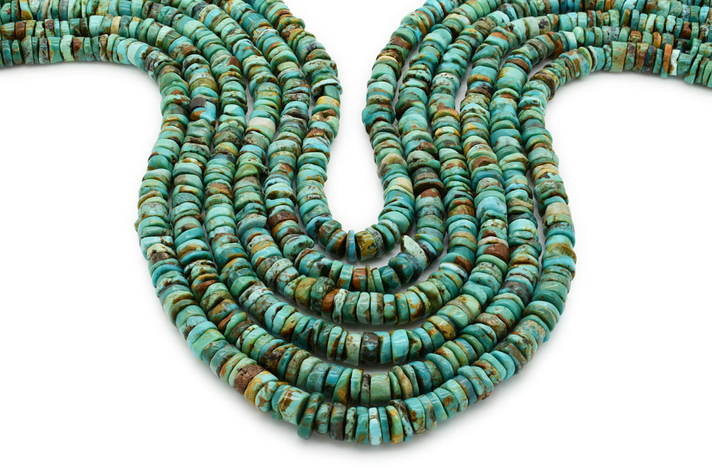 7mm Turquoise Round-Flat Bead, 16'' Strand, A201RB1144
