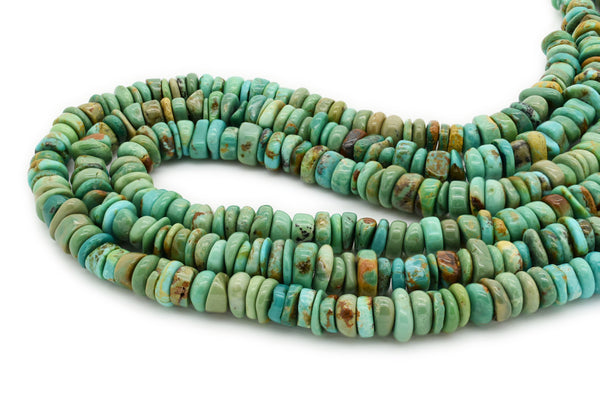 7mm Turquoise Round-Flat Bead, 16'' Strand, A201RB1148