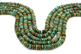 9mm Turquoise Round-Flat Bead, 16'' Strand, A201RB1156