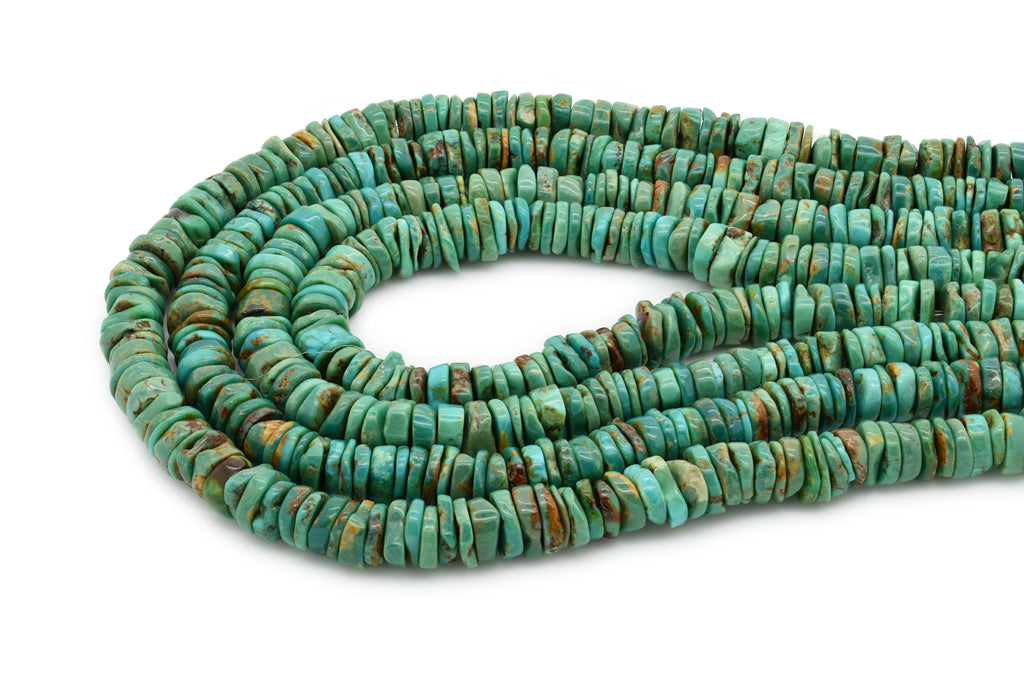 8mm Turquoise Round-Flat Bead, 16'' Strand, A201RB1162