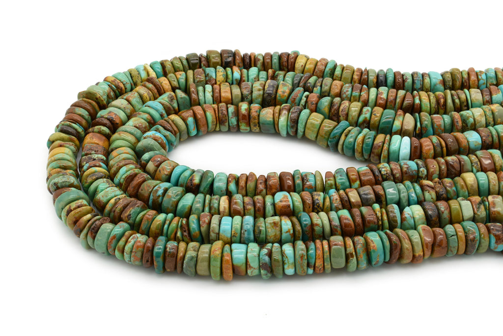 9mm Turquoise Round-Flat Bead, 16'' Strand, A201RB1164