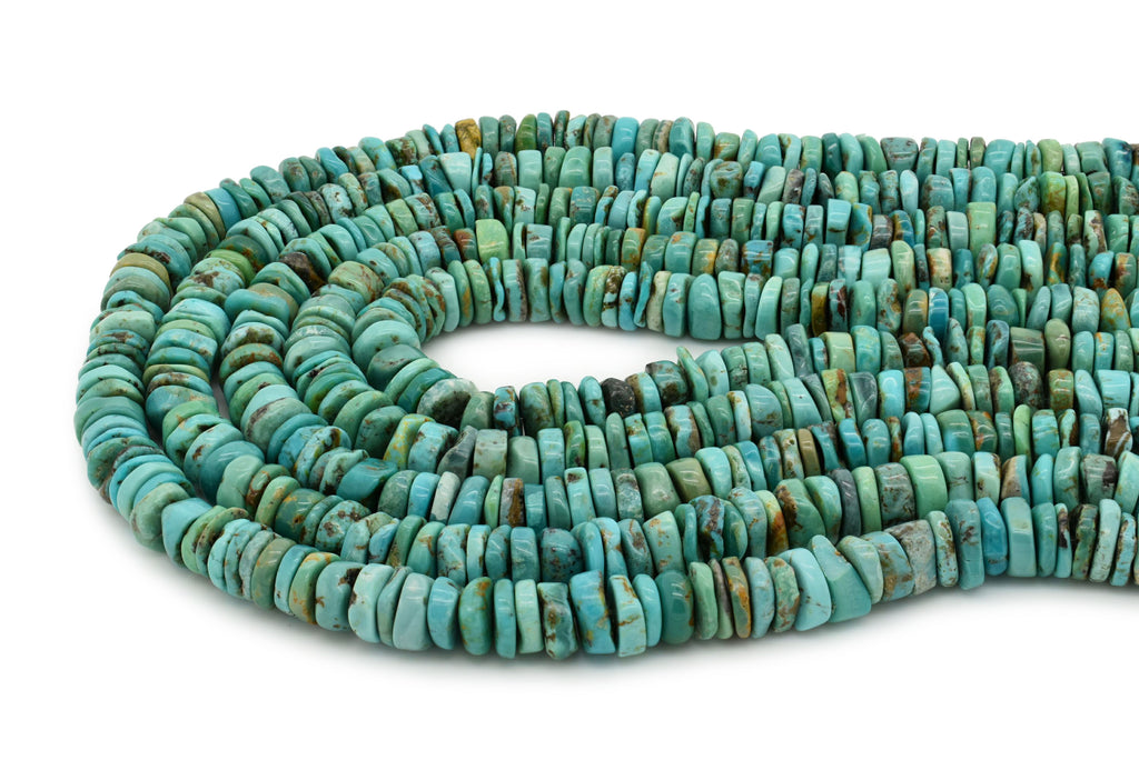 9mm Turquoise Round-Flat Bead, 16'' Strand, A201RB1167