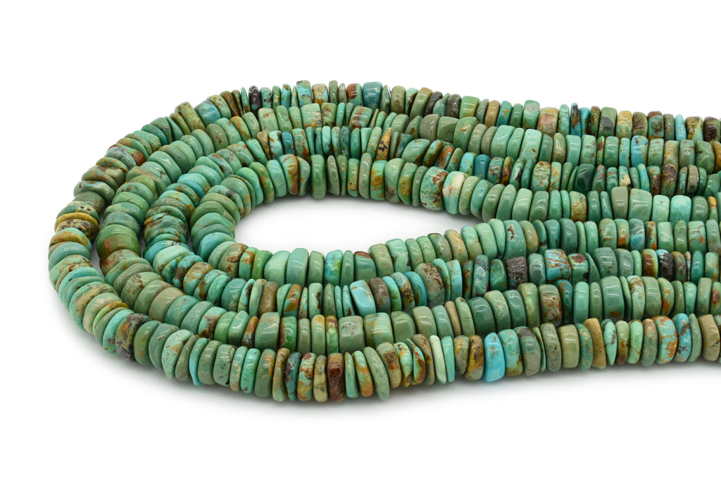 9mm Turquoise Round-Flat Bead, 16'' Strand, A201RB1168