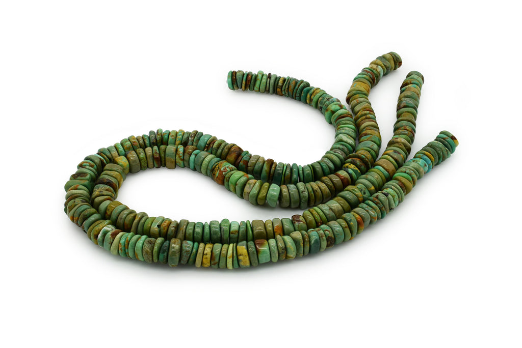 9mm Turquoise Round-Flat Bead, 16'' Strand, A201RB1169