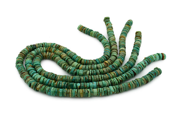 9mm Turquoise Round-Flat Bead, 16'' Strand, A201RB1170