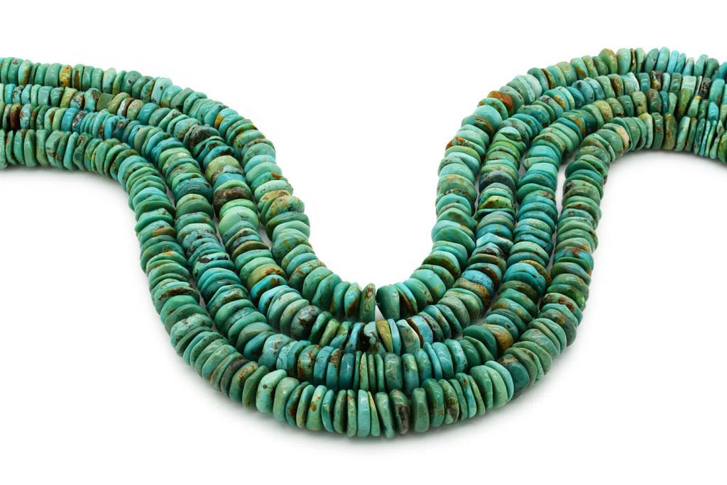 10mm Turquoise Round-Flat Bead, 16'' Strand, A201RB1173