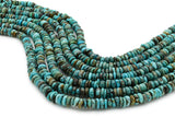 7mm Turquoise Round-Flat Bead, 16'' Strand, A201RB1180