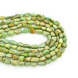 Genuine Natural American Turquoise Nugget Bead 16 inch Strand  (6x8mm Pure Light Green Color)
