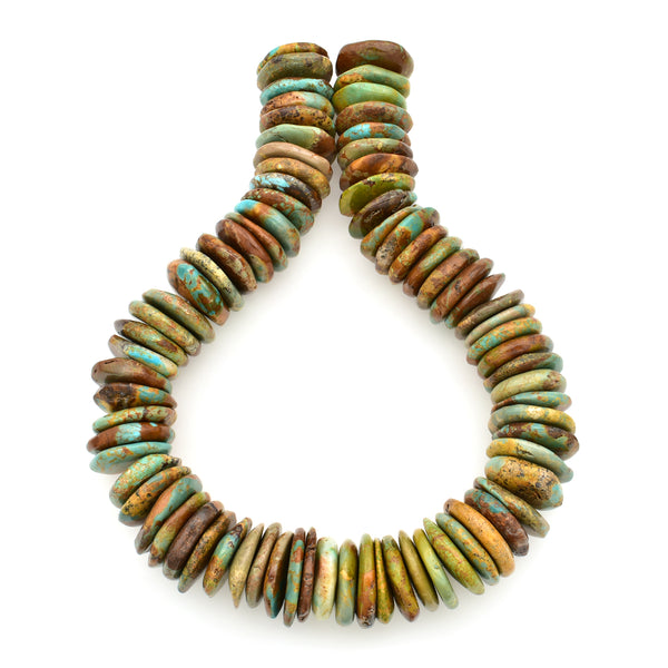 Bluejoy Genuine Indian-Style Natural Turquoise XL Free-Form Disc Bead 16-inch Strand (24mm)