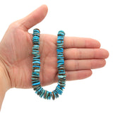 Bluejoy Genuine Indian-Style Natural Turquoise XL Graduated Free-Form Disc Bead 16-inch Strand (6mm-13mm)