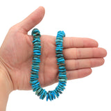 Bluejoy Genuine Indian-Style Natural Turquoise XL Graduated Free-Form Disc Bead 16-inch Strand (8mm-16mm)