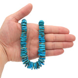 Bluejoy Genuine Indian-Style Natural Turquoise XL Graduated Free-Form Disc Bead 16-inch Strand (8mm-18mm)