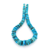 Bluejoy Genuine Indian-Style Natural Turquoise XL Graduated Free-Form Disc Bead 16-inch Strand (9mm-22mm)