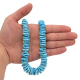 Bluejoy Genuine Indian-Style Natural Turquoise XL Graduated Free-Form Disc Bead 18-inch Strand (11mm-20mm)