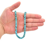 Bluejoy 7mm Genuine Indian-Style Natural Turquoise Free-Form Thin Disc Bead 16-inch Strand