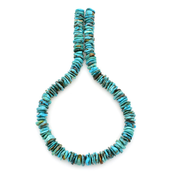Bluejoy 12mm Genuine Indian-Style Natural Turquoise XL Free-Form Thin Disc Bead 16-inch Strand