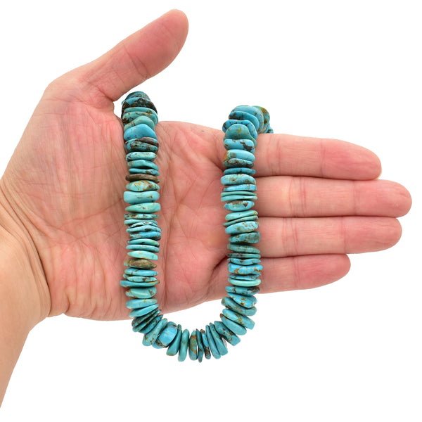 Bluejoy 15mm Genuine Indian-Style Natural Turquoise XL Free-Form Thin Disc Bead 16-inch Strand