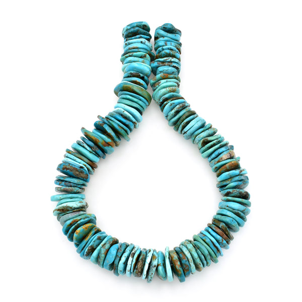 Bluejoy 22mm Genuine Indian-Style Natural Turquoise XL Free-Form Thin Disc Bead 16-inch Strand