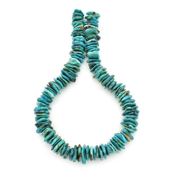 Bluejoy 17mm Genuine Indian-Style Natural Turquoise XL Free-Form Thin Disc Bead 16-inch Strand