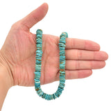 Bluejoy 10mm Genuine Indian-Style Natural Turquoise XL Free-Form Thin Disc Bead 16-inch Strand