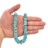 Bluejoy Genuine Indian-Style Natural Turquoise XL Graduated Free-Form Flat Disc Bead 16-inch Strand (8mm-18mm)