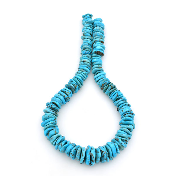 Bluejoy Genuine Indian-Style Natural Turquoise XL Graduated Free-Form Flat Disc Bead 18-inch Strand (10mm-22mm)