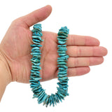 Bluejoy Genuine Indian-Style Natural Turquoise XL Graduated Free-Form Flat Disc Bead 18-inch Strand (12mm-25mm)