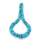 Bluejoy Genuine Indian-Style Natural Turquoise XL Graduated Free-Form Flat Disc Bead 18-inch Strand (11mm-26mm)