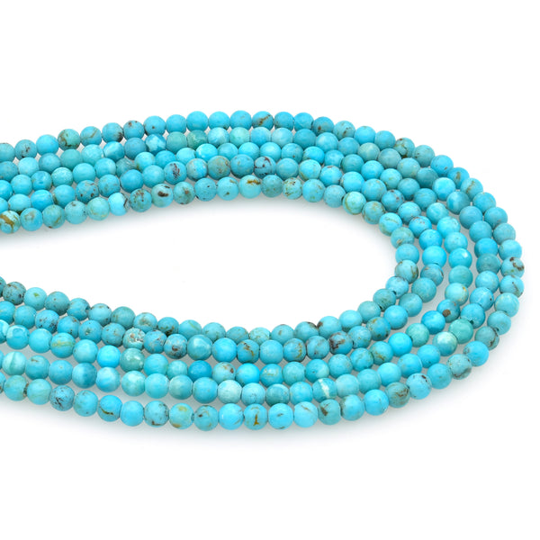 Bluejoy 3mm Genuine Natural American Turquoise Dainty Round Bead 16-inch Strand